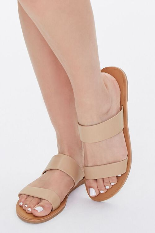 Faux Leather Flat Sandals, image 1