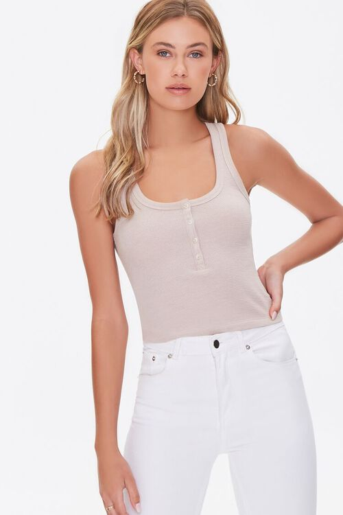 TAUPE Ribbed Knit Tank Top, image 1