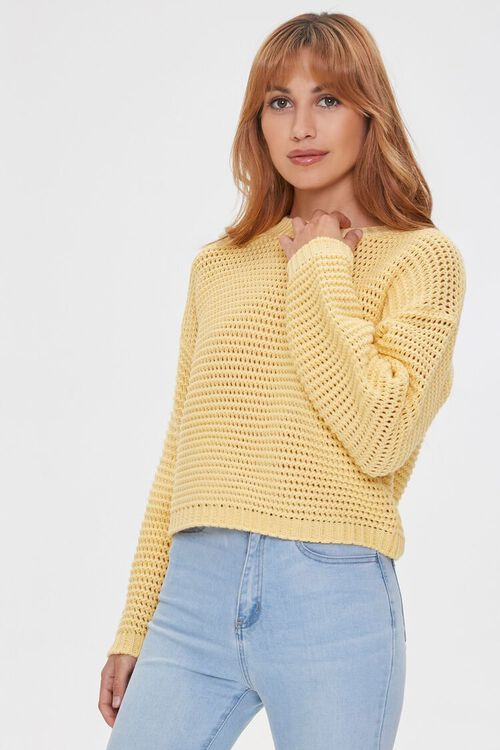 Cropped Open-Knit Sweater, image 1