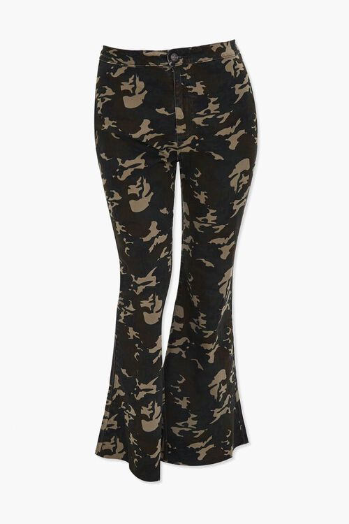 Plus Size Camo Flare Jeans, image 1