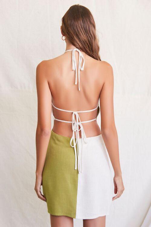 OLIVE/NATURAL Colorblock Halter Mini Dress, image 3