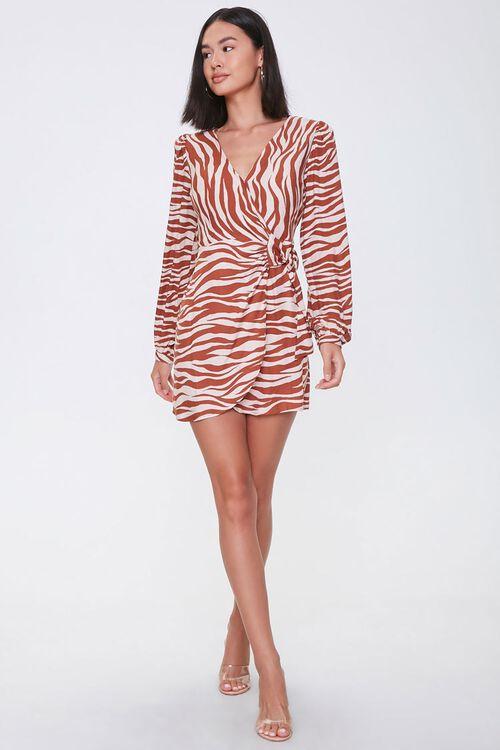 TAUPE/RUST Tiger Print Mini Dress, image 4