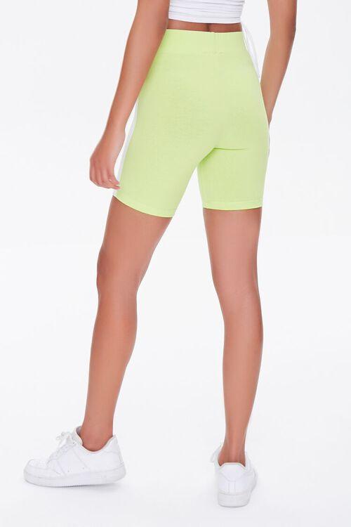 LIME/WHITE Side-Striped Biker Shorts, image 4
