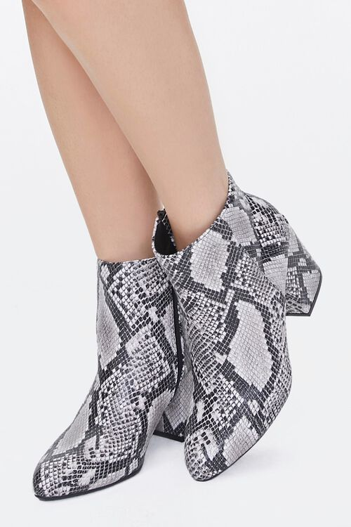 Faux Snakeskin Block Heel Booties, image 1