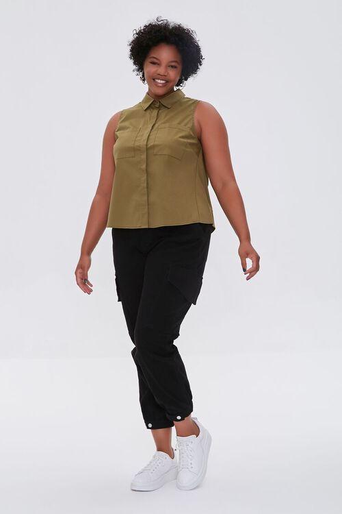 Plus Size Poplin Sleeveless Shirt, image 4