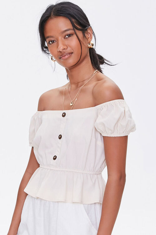 Off-the-Shoulder Puff Sleeve Top, image 1