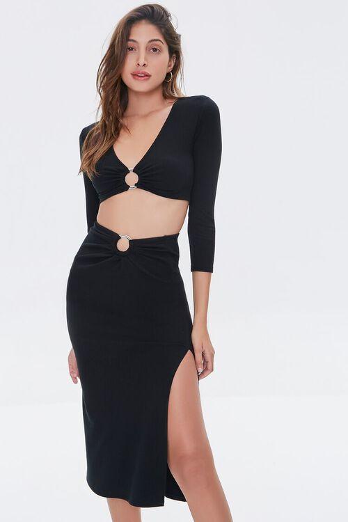 Ruched O-Ring Midi Skirt, image 1