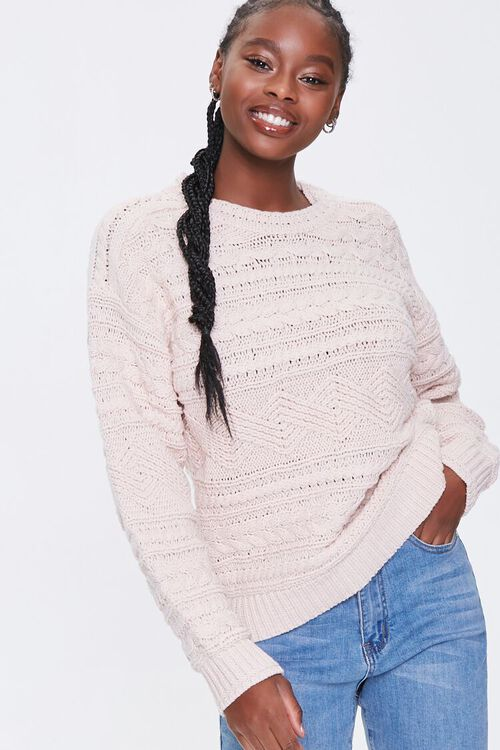 BLUSH Cable Knit Crew Sweater, image 1