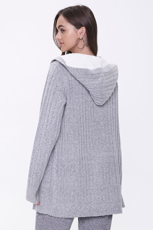 Hooded Ribbed Knit Cardigan, image 3
