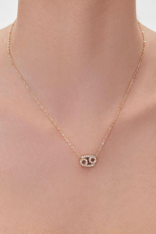 GOLD/CANCER Zodiac Pendant Necklace, image 1