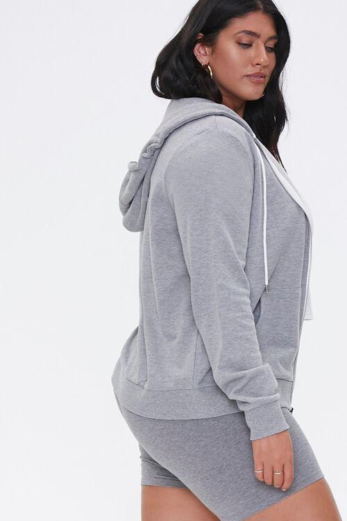 Plus Size Drawstring Zip-Up Hoodie, image 2
