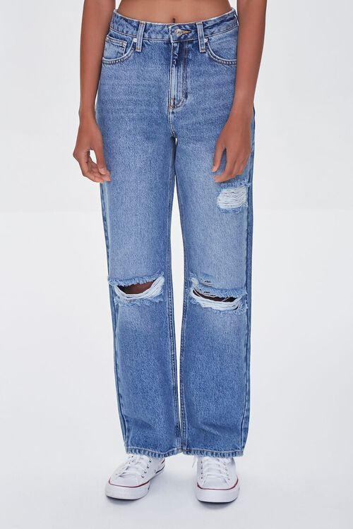 MEDIUM DENIM Premium Distressed 90s-Fit Jeans, image 2