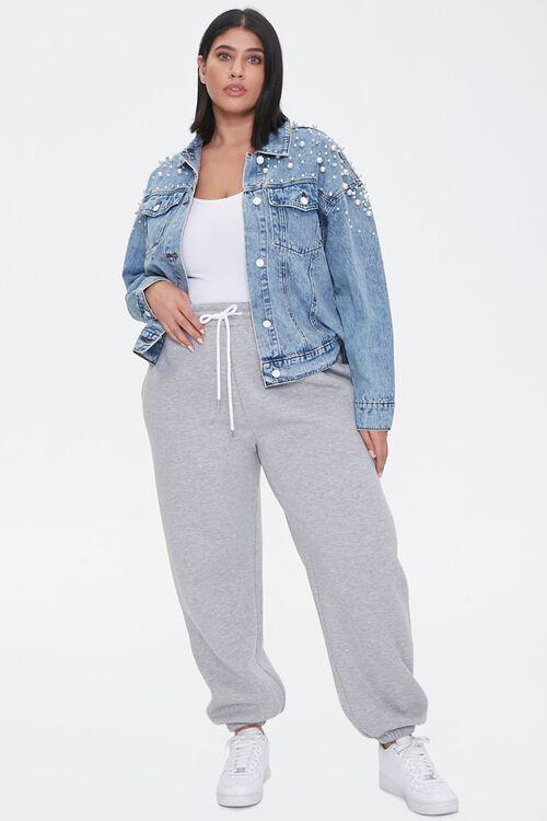 Plus Size Faux Pearl Denim Jacket, image 4