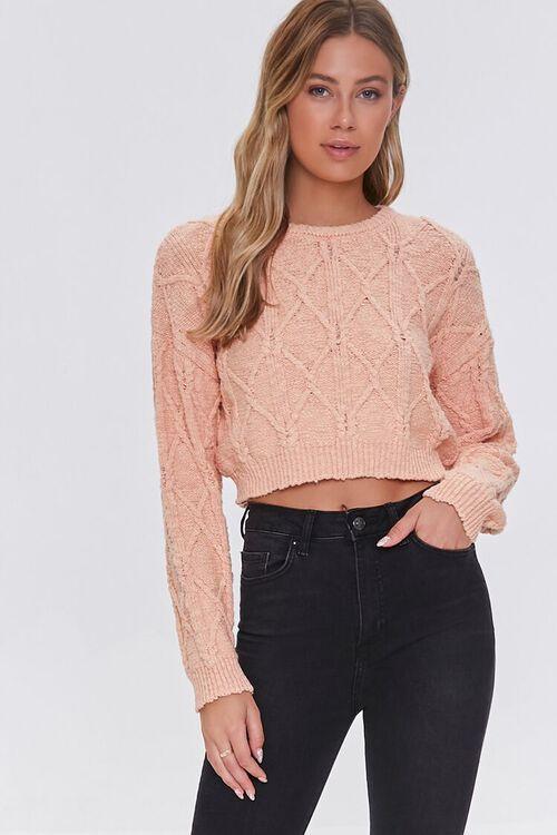 PEACH Cotton-Blend Lattice Sweater, image 1