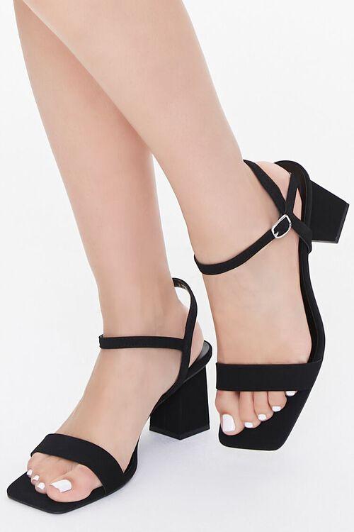 Square-Toe Ankle-Strap Block Heels, image 1