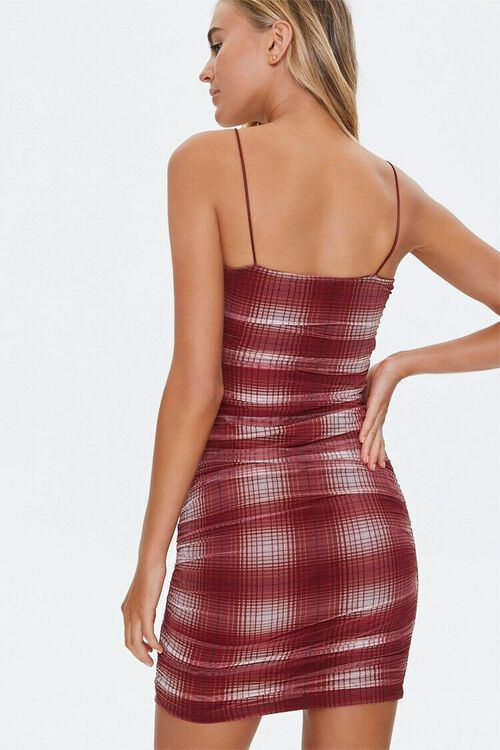WINE/CREAM Plaid Mesh Mini Dress, image 3