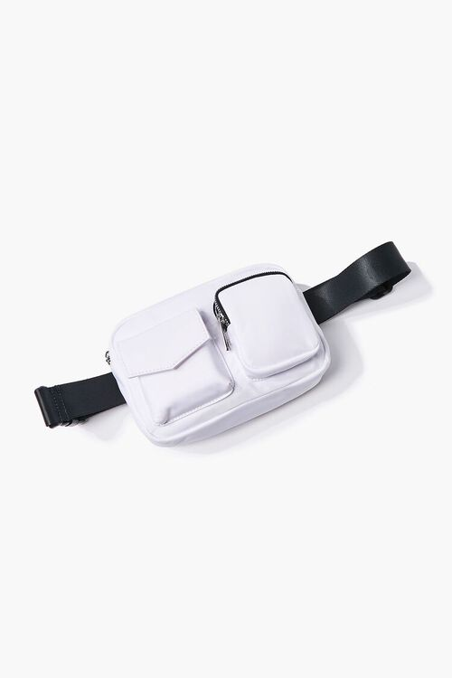 WHITE Nylon Zippered Belt Bag, image 3