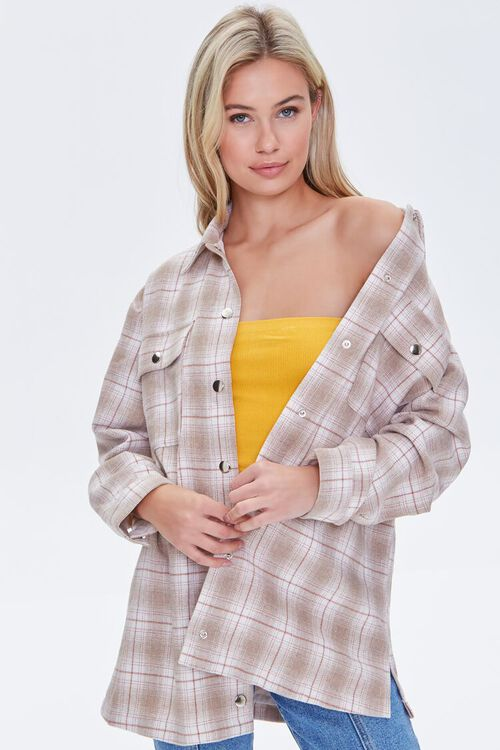 Plaid Button-Front Shacket, image 1