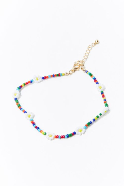 Daisy Charm Beaded Anklet, image 1