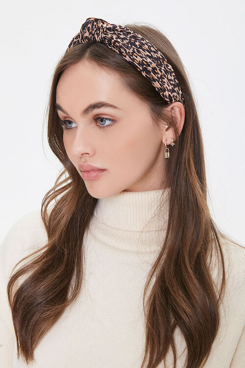 Knotted Leopard Print Headwrap, image 1