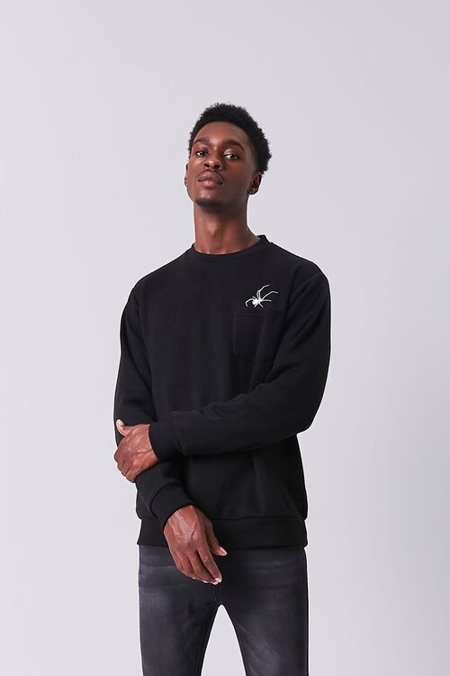 BLACK/WHITE Embroidered Spider Graphic Pullover, image 1