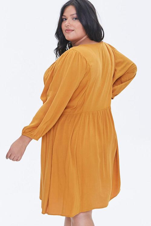 Plus Size Peasant-Sleeve Mini Dress, image 3