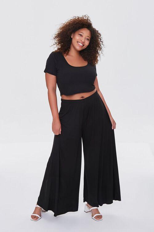 BLACK Plus Size Tee & Palazzo Pants Set, image 1