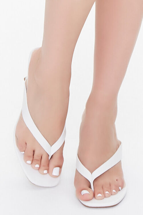 Faux Leather Toe-Thong Heels, image 4