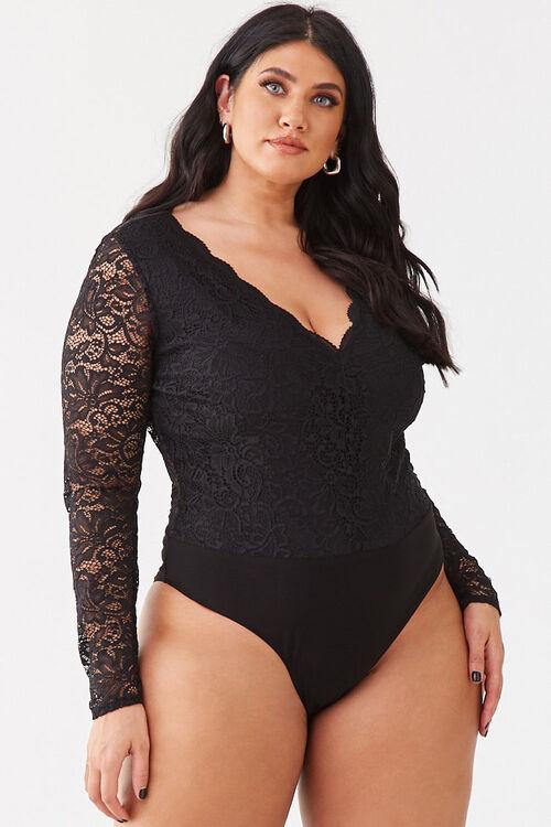 Plus Size Floral Lace Bodysuit, image 5