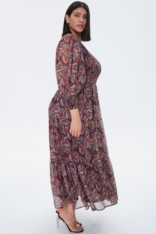Plus Size Paisley Smocked Dress, image 2