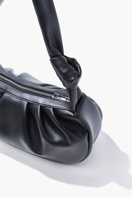 Faux Leather Ruched Shoulder Bag, image 2