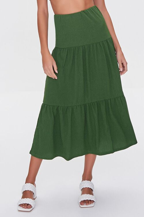 GREEN Crop Top & Tiered Midi Skirt Set, image 4