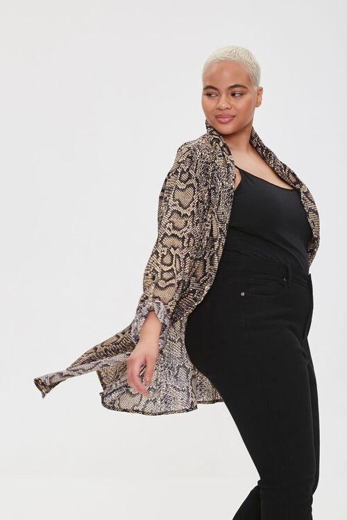 Plus Size Snakeskin Print Kimono, image 1