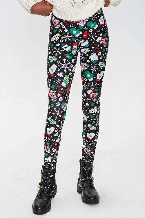 BLACK/MULTI Christmas Mitten Print Leggings, image 2