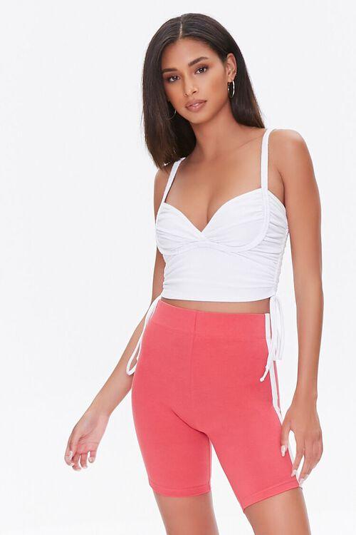 RUST/WHITE Side-Striped Biker Shorts, image 5