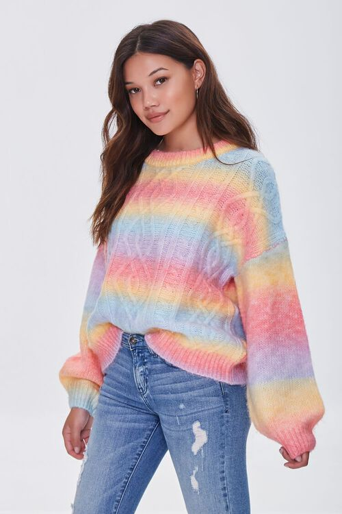 PINK/MULTI Colorblock Cable Knit Sweater, image 1