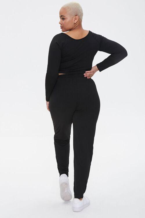 Plus Size Ruched Crop Top & Sweatpants Set, image 3