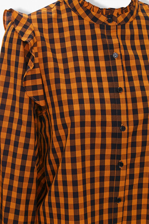 Gingham Ruffle-Trim Shirt, image 3