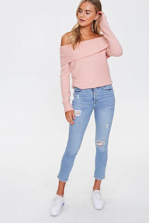 Off-the-Shoulder Ribbed Trim Sweater, image 4