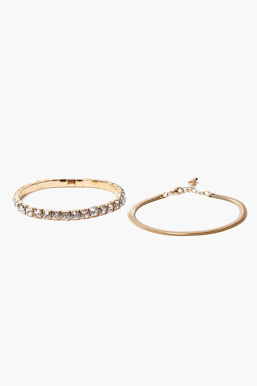 GOLD/CLEAR Box & Snake Chain Anklet Set, image 1
