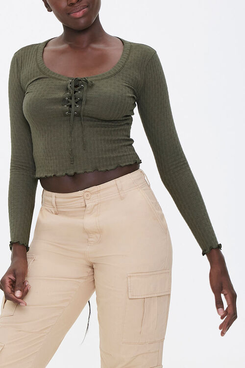Lace-Up Pointelle Knit Top, image 1