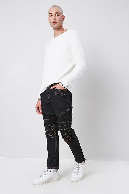 Rainbow Thread Skinny Moto Jeans, image 4