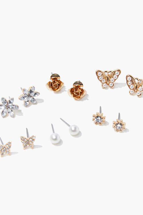 GOLD/CLEAR Butterfly Stud Earring Set, image 2