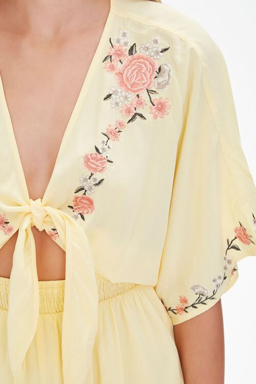 Floral Embroidered Tie-Front Romper, image 5