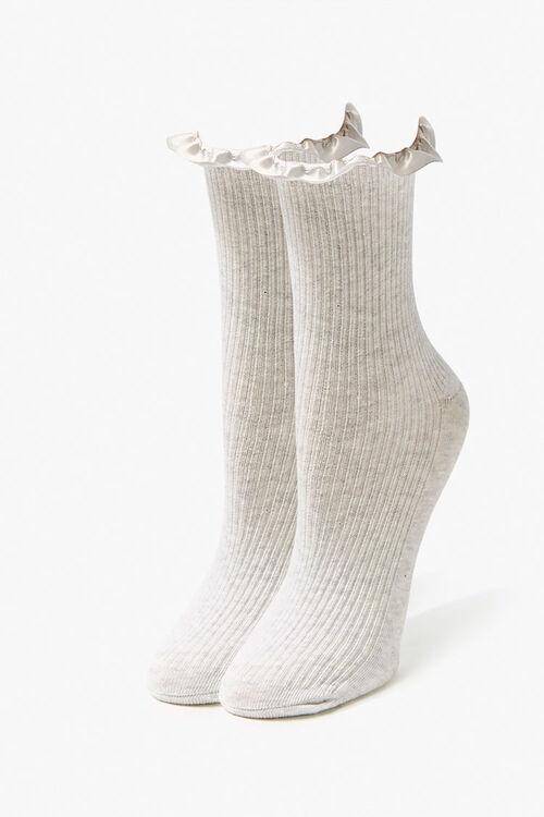 GREY Ruffle-Trim Crew Socks, image 1