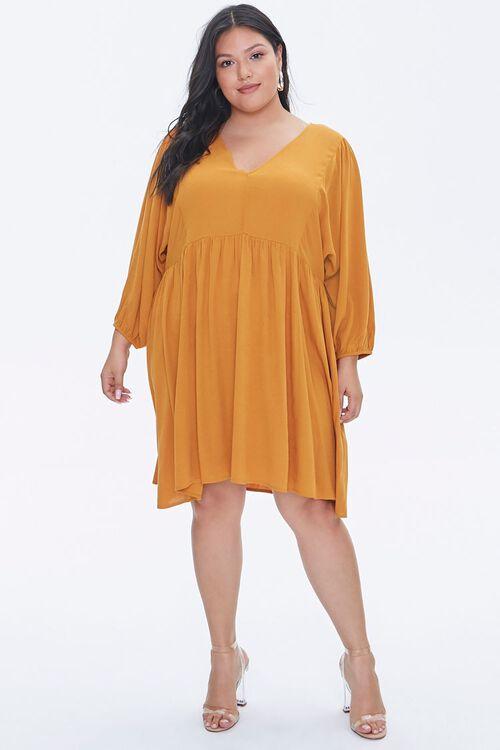 Plus Size Peasant-Sleeve Mini Dress, image 4