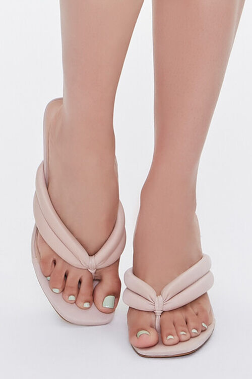Quilted Thong-Toe Heels, image 4