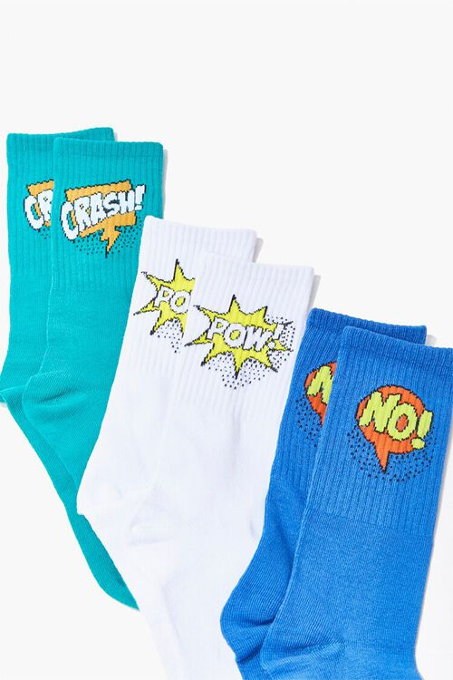 Men Comic Graphic Crew Sock Set, image 2