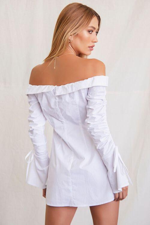 Foldover Trumpet Sleeve Shirt Dress, image 3
