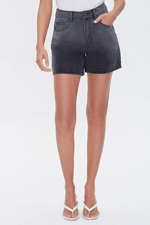 WASHED BLACK High-Rise Denim Shorts, image 2